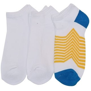 Everlast Girls White Yellow Stripe Ribbed Top No-Show 3 Pc Pack Socks 9-11
