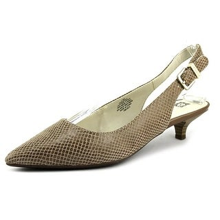 Anne Klein Expert Women Pointed Toe Leather Tan Slingback Heel