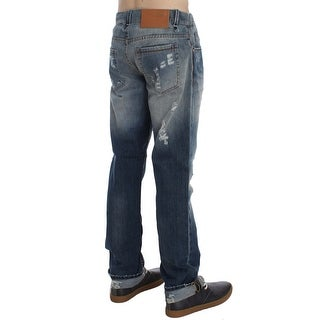 ACHT ACHT Blue Wash Torn Cotton Stretch Regular Fit Jeans - w34