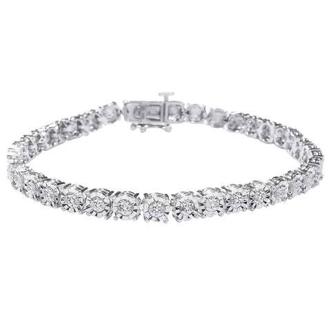 0.25 Cttw. Diamond Tennis Bracelet in 925 Sterling Silver in Miracle Plate