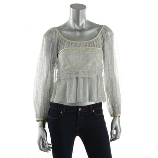 Catherine Malandrino Womens Lace Metallic Blouse - S