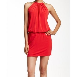 Jessica Simpson NEW Red Womens Size 14 Gold-Hardware Blouson Dress