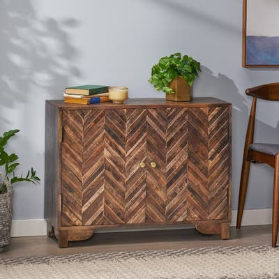 """Corvallis Boho Handcrafted Mango Wood 2 Door Cabinet by Christopher Knight Home - 35.50"""" L x 12.00"""" W x 26.75"""" H"""