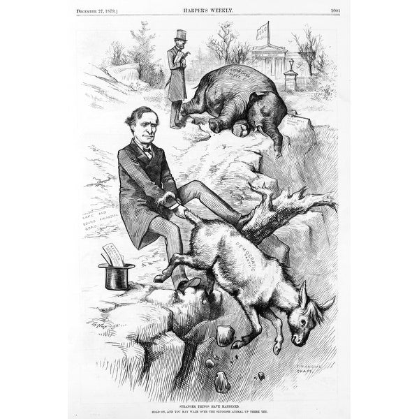Thomas F Bayard Holding On To Tail Of Democratic Donkey And The Republican  Elephant The White House In Background History