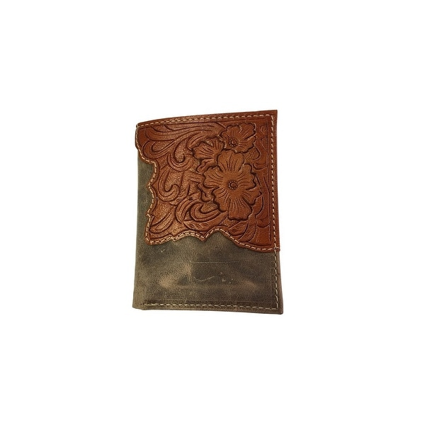 Roper Western Wallet Mens Trifold Leather OS Beige Brown