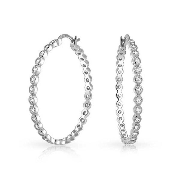 Bling Jewelry Sterling Silver Bezel Set Cz Medium Hoop Earrings 1 5in