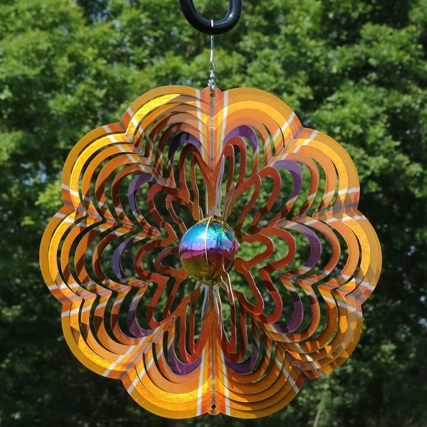 Sunnydaze 12 Inch Reflective Gold Dust 3D Whirling Wind Spinner