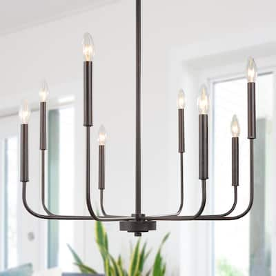 """Modern Farmhouse 8-light Candle Chandelier for Living/ Dining Room - L26.8""""X W26.8"""" X H35.4"""""""