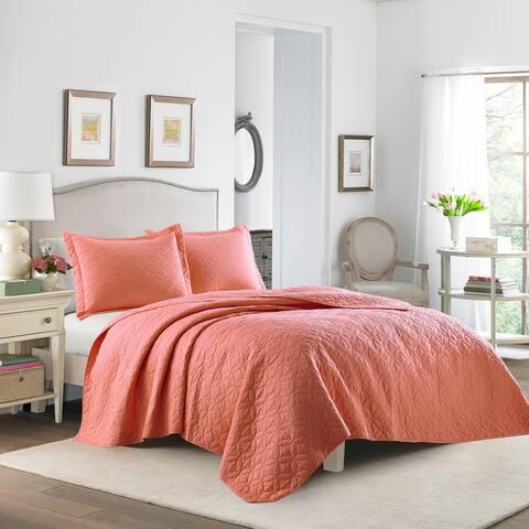 Laura Ashley Solid Coral Cotton Reversible Quilt Set