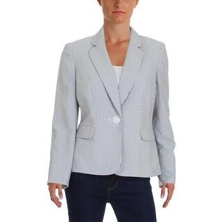 Le Suit Womens Petites Seychelles One-Button Blazer Seersucker Striped - 8P