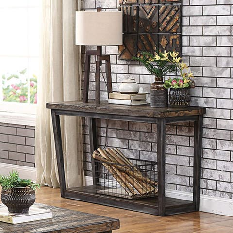 Furniture of America Imran Rustic Dark Oak Sofa Table