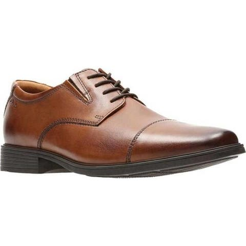 Clarks Men's Tilden Cap Toe Oxford Dark Tan Leather