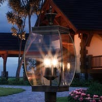 """Luxury Colonial Outdoor Post Light, 22""""H x 9""""W, with Transitional Style, Bowed Design, Medieval Bronze Finish"""