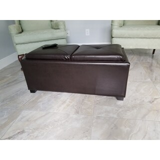 Maxwell Brown Bonded Leather Double Tray Ottoman by Christopher Knight Home