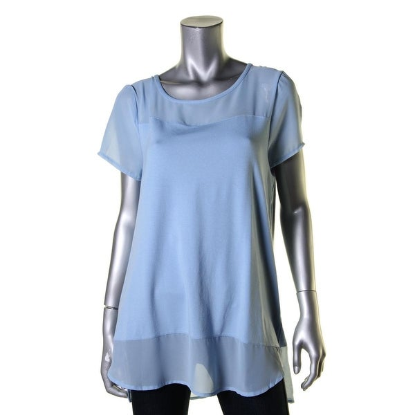 Vince Camuto Womens Casual Top Mixed Media Breathable