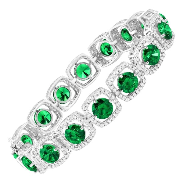 41 ct Green & White Swarovski Elements Zirconia Tennis Bracelet in Sterling Silver