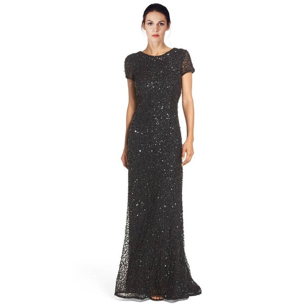 Adrianna Papell Petite Sequined Scoop Back Short Sleeve Evening Gown ...