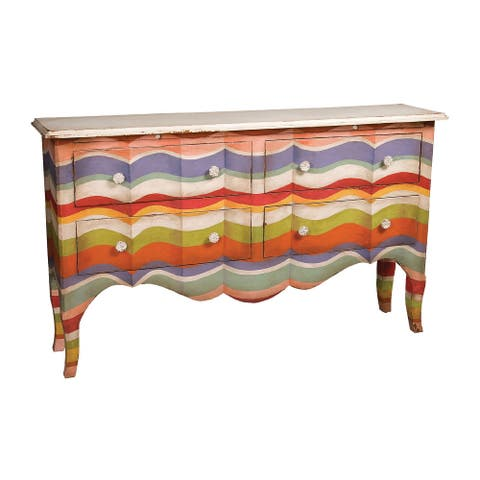 """62"""" Multi-color Stripes with Signature Antique White Top 4-Drawer Sideboard"""