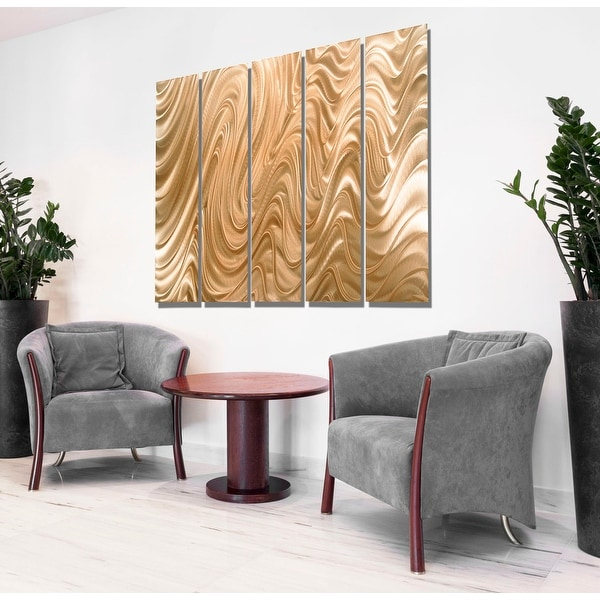 Statements2000 Huge Light Copper Modern Abstract Metal Wall Art Painting by Jon Allen - Copper Hypnotic Sands Epic