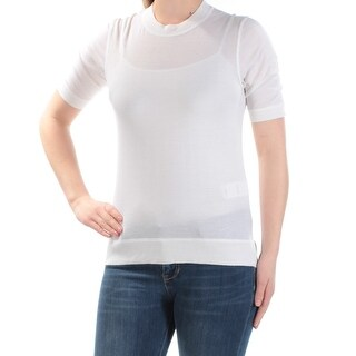 DKNY $178 Womens New 1136 Ivory Short Sleeve Crew Neck Casual Top S B+B