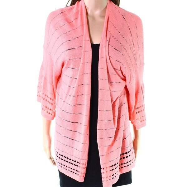 Ruby Rd. Pink Women's Size 1X Plus Pointelle Knit Cardigan Sweater