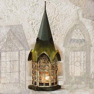 House Architectural Candle Holder Lantern - Green Patina Pickford House