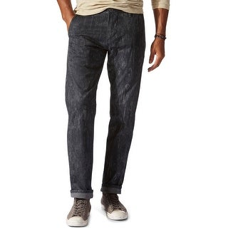 Dockers Alpha Khaki Slim Tapered Stretch Printed Chinos Pants Black 32 x 30