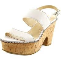 Coach Quartz Women  Open Toe Leather White Platform Sandal