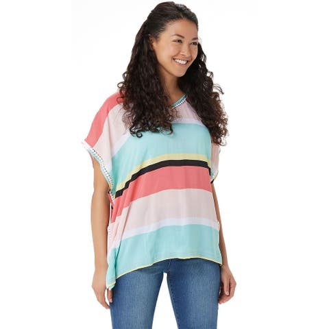 Cuddl Duds Womens Sun Cool Breeze Short-Sleeve Top Plus 1X Multi-Stripe A346887
