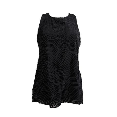 Alfani Black Velvet Burnout Illusion Blouse 10