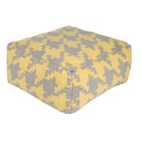 """18"""" Lemon Yellow and Gray Houndstooth Wool Square Pouf Ottoman"""