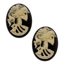 Lucite Oval Cameo Black With Cream Lolita Skeleton 18x 25mm (2 Pieces)