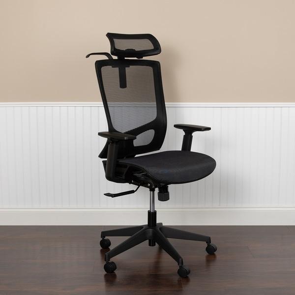 Ergonomic Mesh Office Chair With Synchro Tilt Pivot Headrest Adjustable Arms On Sale Overstock 30961306