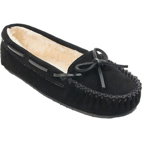 Minnetonka Women's Cally Slipper Black Suede