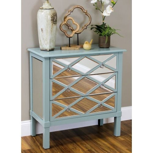 Aspire Home Accents 4349 Erika 30 Inch Wide 3 Drawer Wood Dresser with Mirrored Front