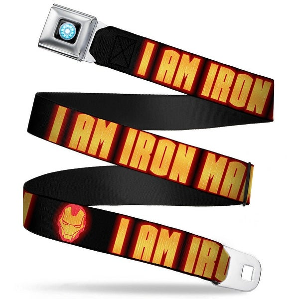 Marvel Avengers Iron Man Arc Reactor Full Color Iron Man Face I Am Iron Man Seatbelt Belt