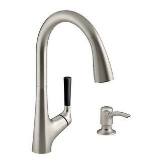 Kohler R562-SD-VS Malleco Pull-Out Kitchen Faucet w/Lotion Dispenser, St-Steel