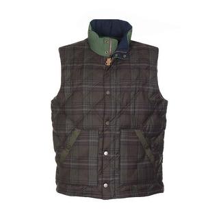 Tommy Hilfiger Meriden Premium Down Vest Large L Chocolate Brown Plaid