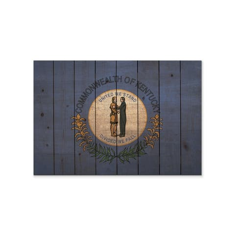 Kentucky State Flag on Wood - Indoor and Outdoor Safe Wall Decor