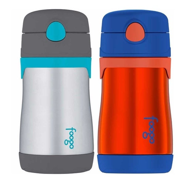2-Pack Blue//Yellow 10 Ounce Thermos Foogo Stainless Steel Straw Bottle
