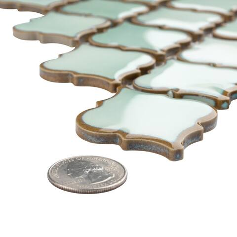 SomerTile 12.375x12.5-inch Antaeus Mint Green Porcelain Mosaic Floor and Wall Tile
