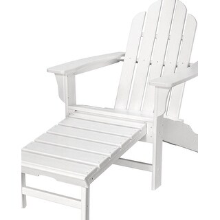 Hanover Outdoor HVLNA15WH All-Weather Contoured Adirondack Chair with Hideaway Ottoman- White