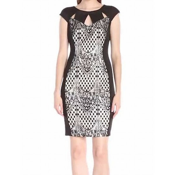 6b04aa10c5b Shop Jax NEW Black Lace Paneled Women s Size 10 Keyhole Sheath Dress - Free  Shipping On Orders Over  45 - Overstock - 20498814