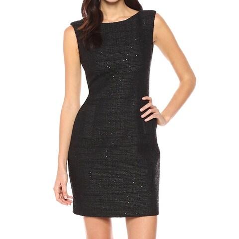 Anne Klein Black Women Size 6 Sequin Tweed Bateau-Neck Sheath Dress