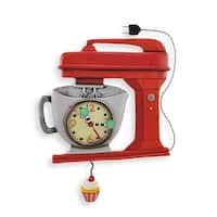 Allen Designs Red Vintage Kitchen Mixer Wall Clock with Cupcake Pendulum - 10.75 X 11.5 X 1.75 inches