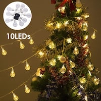Costway Christmas 10 LED String Ball Lights Xmas Wedding Party Garden Decor Lamp Clear