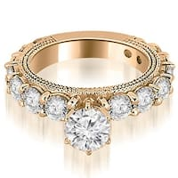 2.25 cttw. 14K Rose Gold Antique Round Cut Diamond Engagement Ring