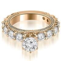 2.50 cttw. 14K Rose Gold Antique Round Cut Diamond Engagement Ring
