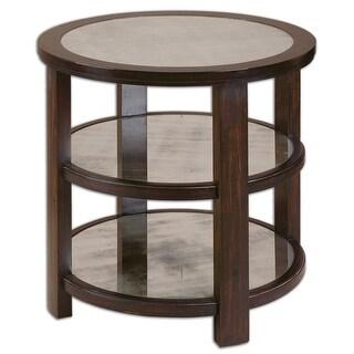 """29"""" Rhodes Dark Aubergine Brown Poplar Wood & Mirrored Round Accent Side Table"""