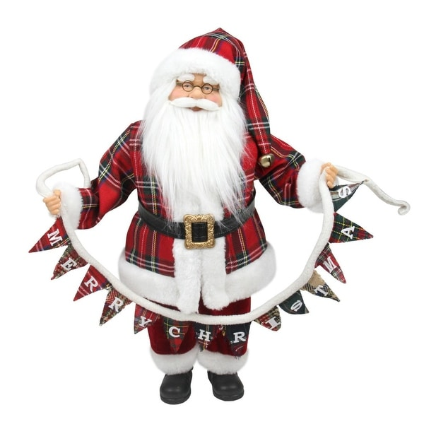 """18"""" Santa Claus Holding a """"Merry Christmas"""" Banner Tabletop Decoration"""
